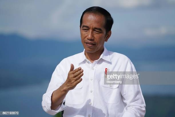 Joko Widodo Indonesia's president speaks during a Bloomberg Television interview in Silangit North Sumatra Indonesia on Saturday Oct 14 2017...