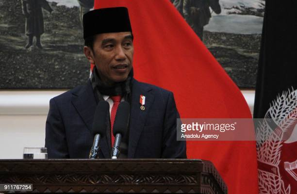Joko Widodo President of Indonesia holds a press conference at presidential palace in Kabul Afghanistan on January 29 2018