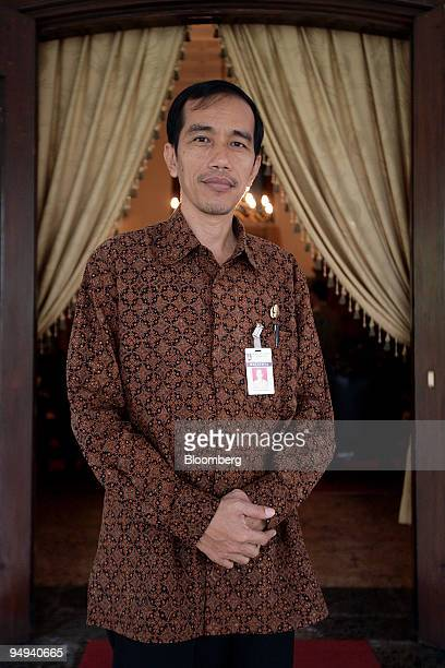 Joko Widodo Solo city mayor poses for a photograph during an interview at his office in Solo Central Java Indonesia on Thursday April 16 2009 The...