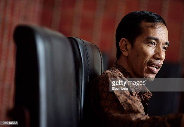 Joko Widodo Solo city mayor speaks during an interview at his office in Solo Central Java Indonesia on Thursday April 16 2009 The bombers who killed...