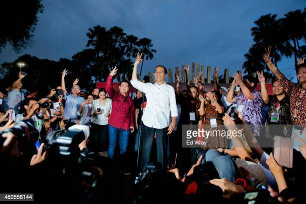 Joko Widodo the new PresidentElect of Indonesia speaks to his supporters on July 23 2014 in Jakarta Indonesia Widodo known by his nickname Jokowi to...