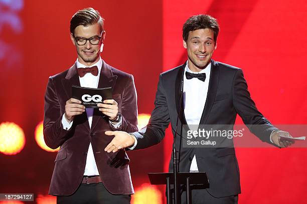 Joko Winterscheidt and Florian David Fitz on stage at the GQ Men Of The Year Award at Komische Oper on November 7 2013 in Berlin Germany