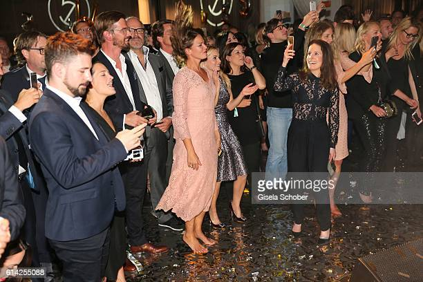 Joko Winterscheidt and Jessica Schwarz barefoo during the 5th anniversary of Westwing on October 12 2016 in Munich Germany