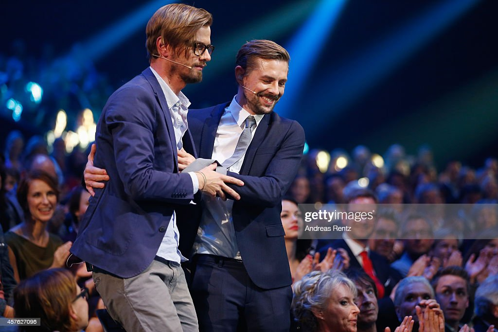 Joko Winterscheidt and Klaas Heufer-Umlauf attend the 18th Annual German Comedy Awards at Coloneum on October 21, 2014 in Cologne, Germany. The show will be aired on RTL on October 25.