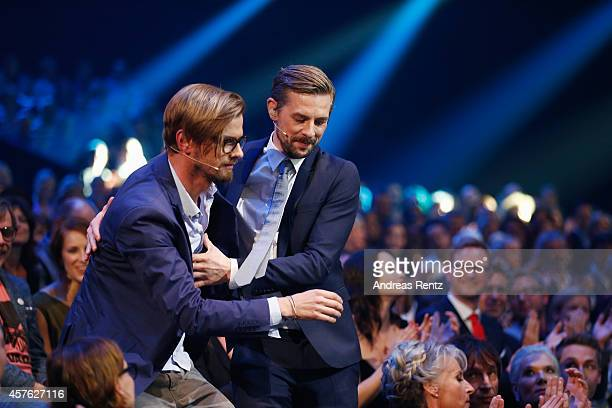 Joko Winterscheidt and Klaas HeuferUmlauf attend the 18th Annual German Comedy Awards at Coloneum on October 21 2014 in Cologne Germany The show will...