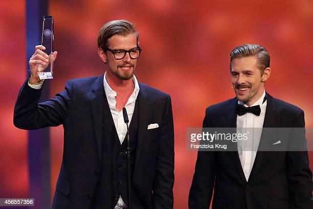 Joko Winterscheidt and Klaas HeuferUmlauf attend the Deutscher Fernsehpreis 2014 show on October 02 2014 in Cologne Germany