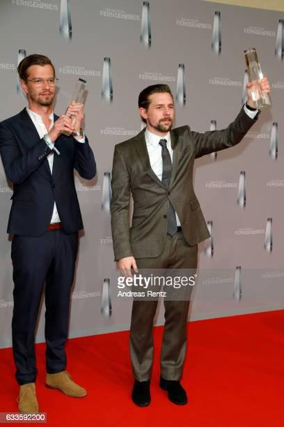 Joko Winterscheidt and Klaas HeuferUmlauf pose with their awards at the German Television Award at Rheinterrasse on February 2 2017 in Duesseldorf...