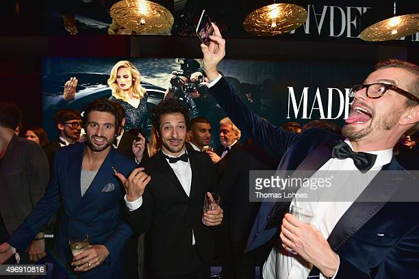 Joko Winterscheidt , Fahri Yardim and Tom Beck attend the Bambi Awards 2015 party at Atrium Tower on November 12, 2015 in Berlin, Germany.