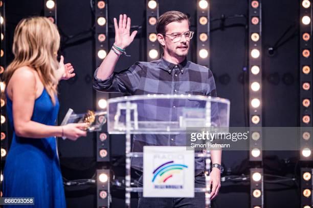 Joko Winterscheidt is awarded by Panagiota Petridou during the Radio Regenbogen Award 2017 at Europapark on April 7 2017 in Rust Germany