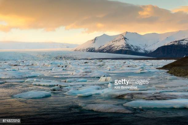 Jokulsarlon, a famous glacier lagoon during sunset in winter, Iceland