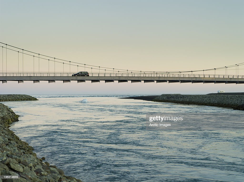 Jokulsarlon Bridge over the Blautbalakvisl River : Stock Photo