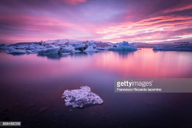 Jokulsarlon Glacier Lagoon at sunset, Iceland