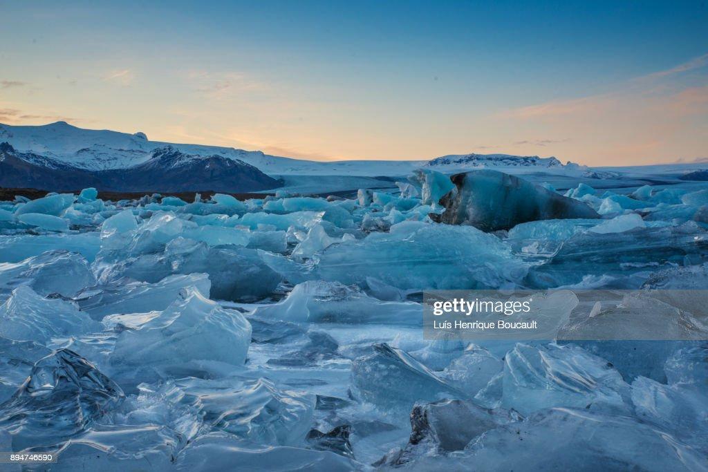 Jokulsarlon Glacier Lagoon at sunset : Stock Photo