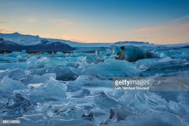 Jokulsarlon Glacier Lagoon at sunset