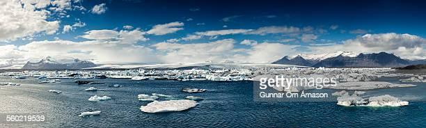 jokulsarlon iceland panorama - gunnar örn árnason stock pictures, royalty-free photos & images