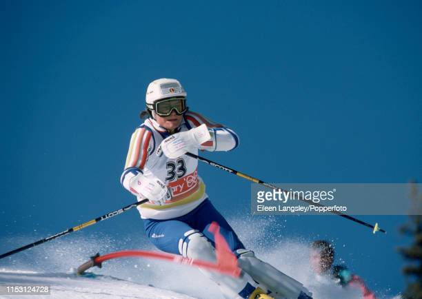 Jolanda Kindle representing Liechtenstein in the women's slalom during the 1988 Winter Olympics at the Nakiska ski resort on February 26, 1988 in...
