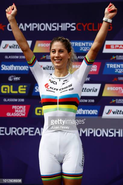 Jolanda Neff of Switzerland celebrates at the podium after winning the Women's Mountain Bike CrossCountry on Day Six of the European Championships...