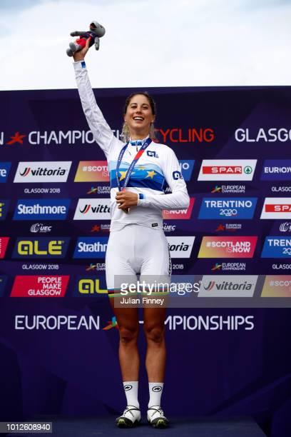 Jolanda Neff of Switzerland celebrates at the podium after winning the Women's Mountain Bike Cross-Country on Day Six of the European Championships...