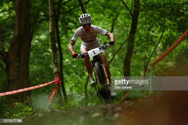 Jolanda Neff of Switzerland rides during the Women's Mountain Bike Cross-Country on Day Six of the European Championships Glasgow 2018 at Cathkin...