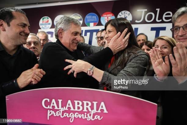 Jole Santelli and Antonio Tajani celebrate together in Lamezia Terme , Italy, on 26 January 2020. Jole Santelli becomes new President of the Calabria...
