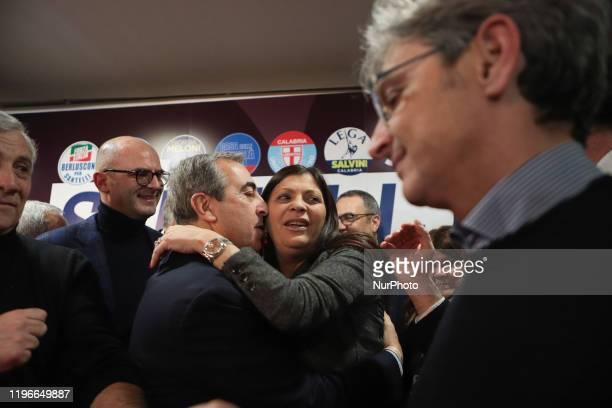 Jole Santelli and Senator Maurizio Gasparri celebrate together in Lamezia Terme , Italy, on 26 January 2020. Jole Santelli becomes new President of...