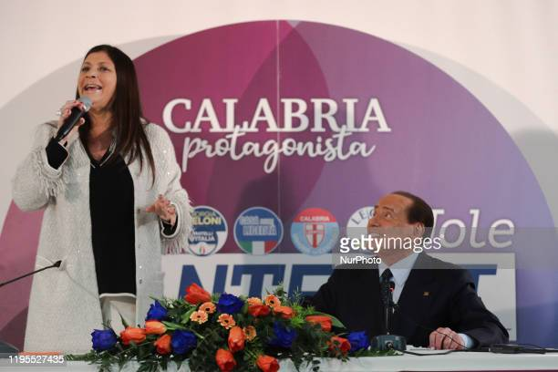 Jole Santelli and Silvio Berlusconi during the conference on January 23 2020 in Lamezia Terme ahed of the calabrian regional elections of January 26...