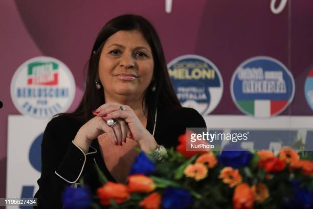 Jole Santelli attends a conference on January 23 2020 in Lamezia Terme ahed of the calabrian regional elections of January 26 2020
