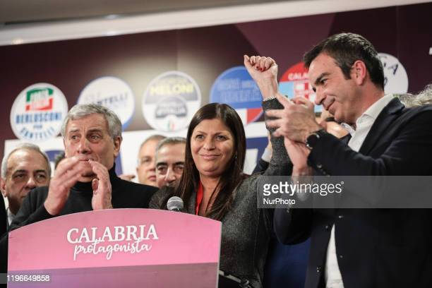 Jole Santelli's exultation after her victory in Lamezia Terme , Italy, on 26 January 2020. Jole Santelli becomes new President of the Calabria...