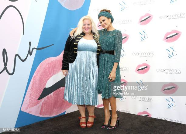 Jolene of Boardroom Blonde poses with Eva Mendes during Eva Mendes's launch of her fall collection with new extended sizes at New York Company in Los...