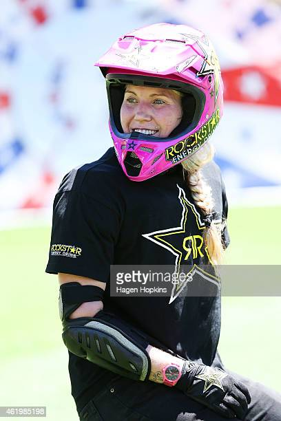 Jolene Van Vugt looks on during the 2015 Nitro Circus preshow practice at Westpac Stadium on January 23 2015 in Wellington New Zealand