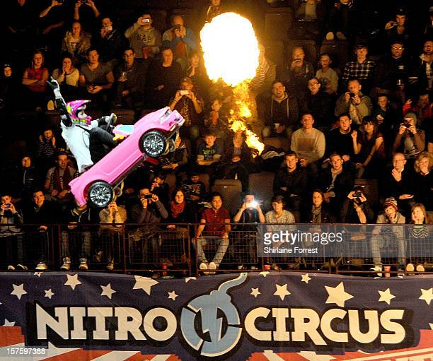Jolene Van Vugt rides a Barbie car at Nitro Circus Live at Manchester Arena on December 4 2012 in Manchester England