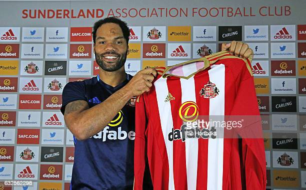 Joleon Lescott is pictured after signing with Sunderland AFC at The Academy of Light on January 23, 2017 in Sunderland, England.