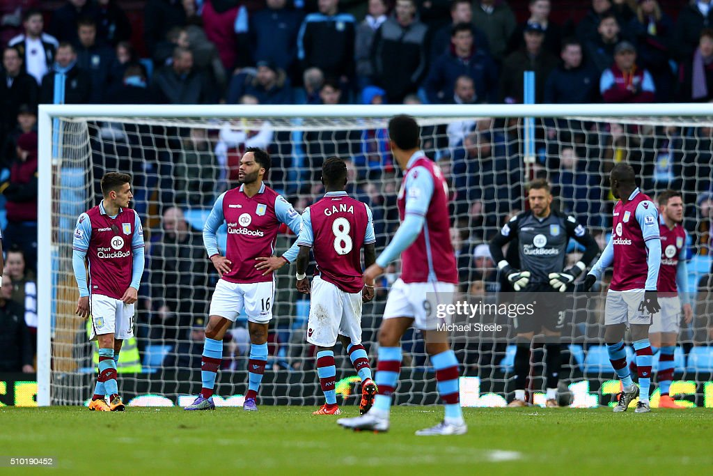 Joleon Lescott of Aston Villa and team-mates show their dejection during the Barclays Premier League match between Aston Villa and Liverpool at Villa Park on February 14, 2016 in Birmingham, England.