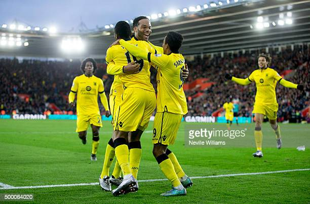 Joleon Lescott of Aston Villa celebrates his goal for Aston Villa during the Barclays Premier League match between Southampton and Aston Villa at the...