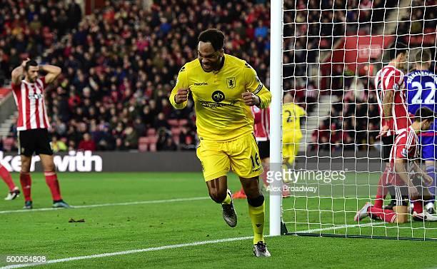 Joleon Lescott of Aston Villa celebrates scoring his team's first goal during the Barclays Premier League match between Southampton and Aston Villa...