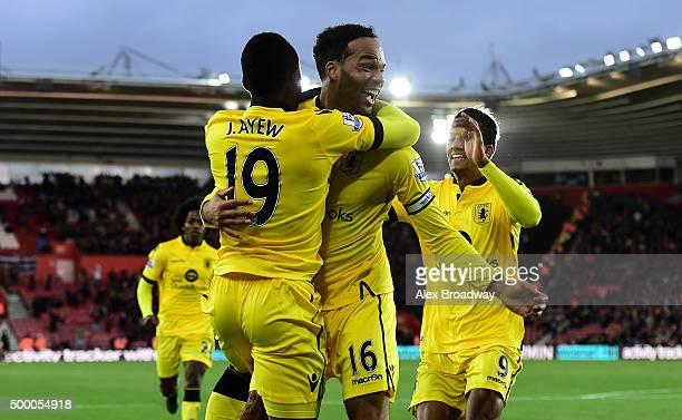 Joleon Lescott of Aston Villa celebrates scoring his team's frist goal with his team mate Jordan Ayew during the Barclays Premier League match...