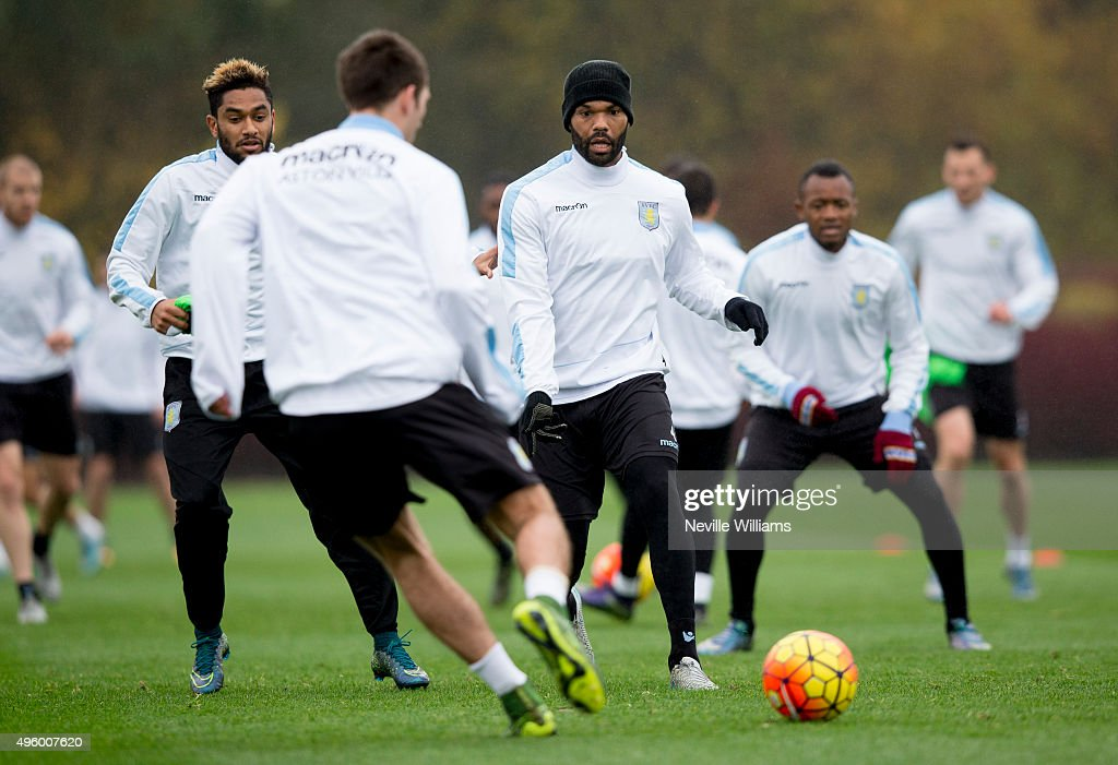 Joleon Lescott of Aston Villa in action during a Aston Villa training session at the club's training ground at Bodymoor Heath on November 06, 2015 in Birmingham, England.
