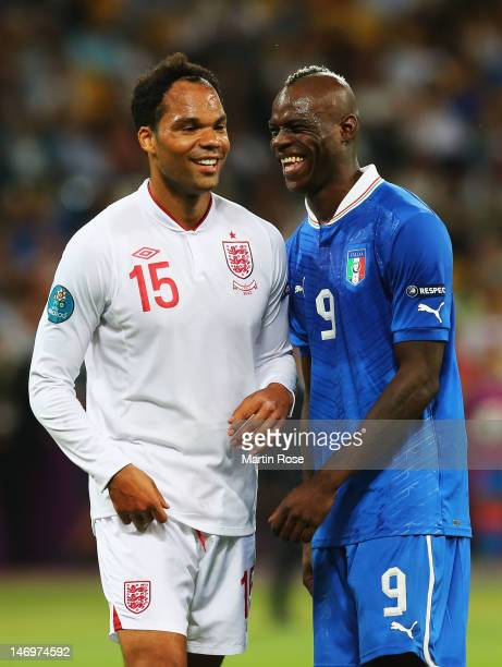 Joleon Lescott of England and Mario Balotelli of Italy during the UEFA EURO 2012 quarter final match between England and Italy at The Olympic Stadium...