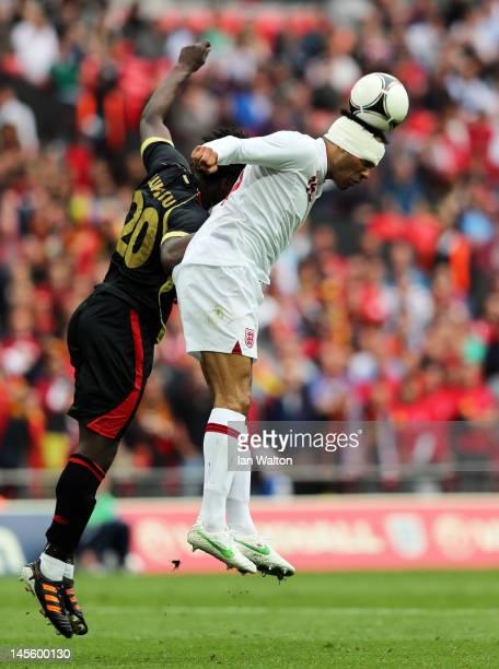 Joleon Lescott of England in action after being injured during the international friendly match between England and Belgium at Wembley Stadium on...