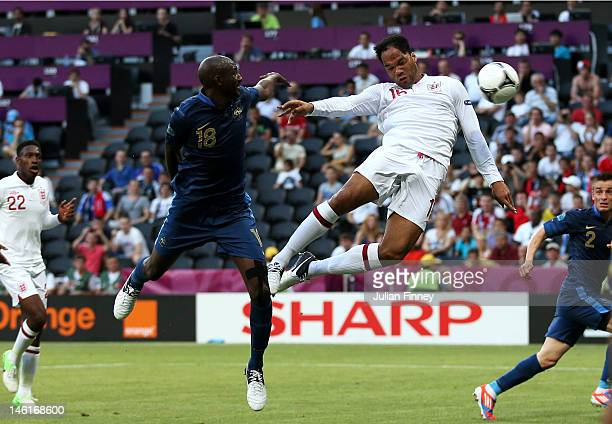 Joleon Lescott of England scores the first goal during the UEFA EURO 2012 group D match between France and England at Donbass Arena on June 11 2012...