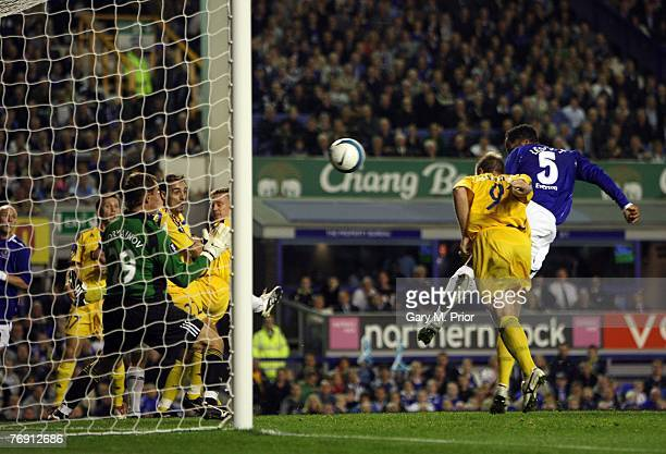 Joleon Lescott of Everton scores during the UEFA Cup match between Everton and Metalist Kharkiv at Goodison Park on September 20, 2007 in Liverpool,...