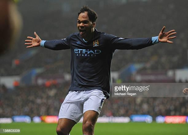 Joleon Lescott of Man City celebrates scoring to make it 10 during the Barclays Premier league match between Aston Villa and Manchester City at Villa...