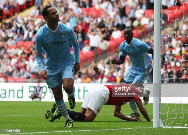Joleon Lescott of Manchester City as he scores their first goal during the FA Community Shield match sponsored by McDonald's between Manchester City...