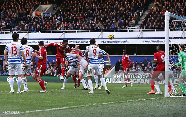 Joleon Lescott of West Brom heads the opening goal during the Barclays Premier League match between Queens Park Rangers and West Bromwich Albion at...