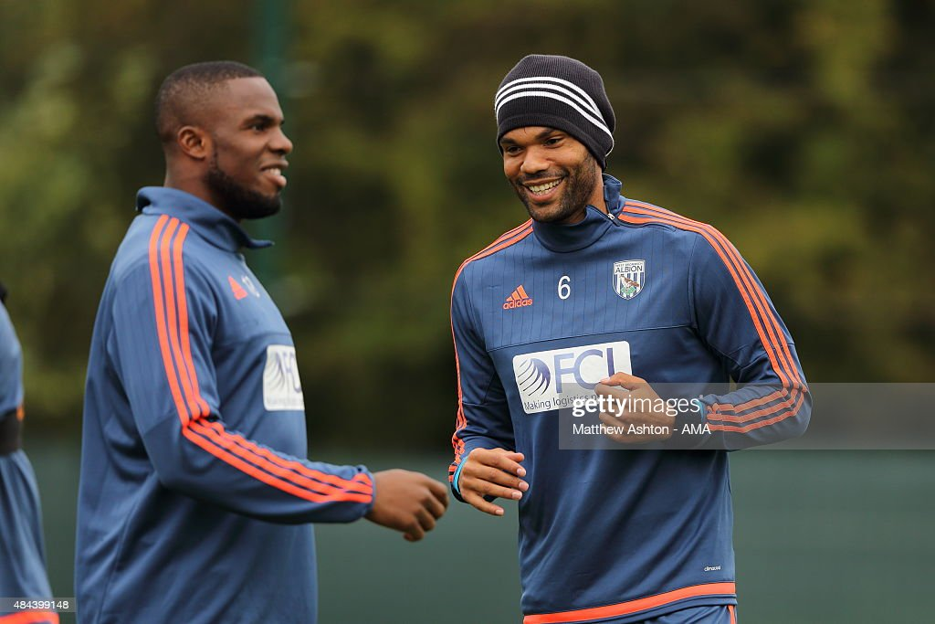 Joleon Lescott of West Bromwich Albion during the West Bromwich Albion training session at West Bromwich Albion Training Ground on August 18, 2015 in Walsall, England.