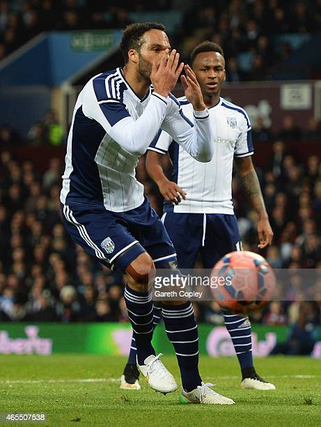 Joleon Lescott of West Bromwich Albion reacts as he misses a clear chance during the FA Cup Quarter Final match between Aston Villa and West Bromwich...