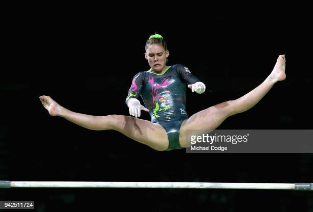 Jolie Ruckley of Wales competes on the uneven bars during the Women's Team Final and Individual Qualification Artistic Gymnastics on day two of the...