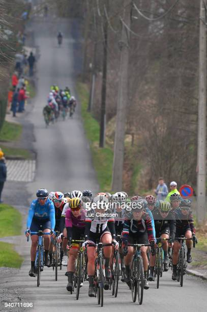Jolien DHoore of Belgium and Team MitcheltonScott UCI leaders jersey / Floortje Mackaij of The Netherlands and Team Sunweb / Ellen van Dijk of The...
