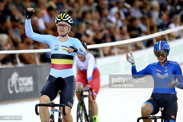 Jolien D'Hoore of Belguim celebrates finishing first in the Women's Madison final during the 2018 UCI Track World Cup on January 20, 2019 in...