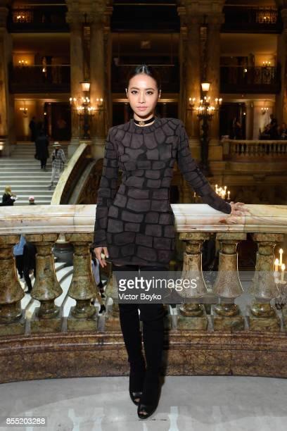 Jolin Tsai attends the Balmain show as part of the Paris Fashion Week Womenswear Spring/Summer 2018 on September 28 2017 in Paris France